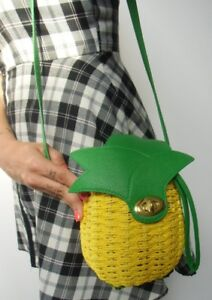 Origineel Rieten Ananas Retro Pinup Ananas Stro Handtas Geelgroen Stijve 7YpqRH