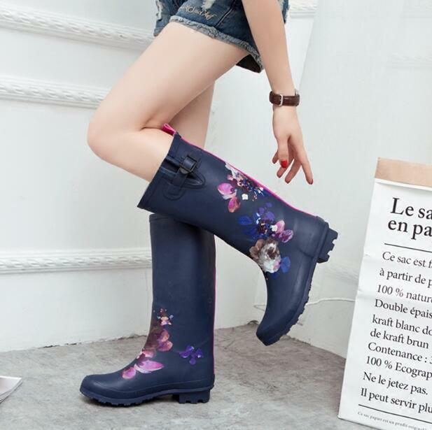 Womens Knee High Boots Floral Rainboots Shoes Casual Comfort Outdoor Casual New