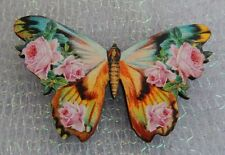 Vintage Style Floral Butterfly Brooch or Scarf Pin Roses NEW Wood Multi-Color