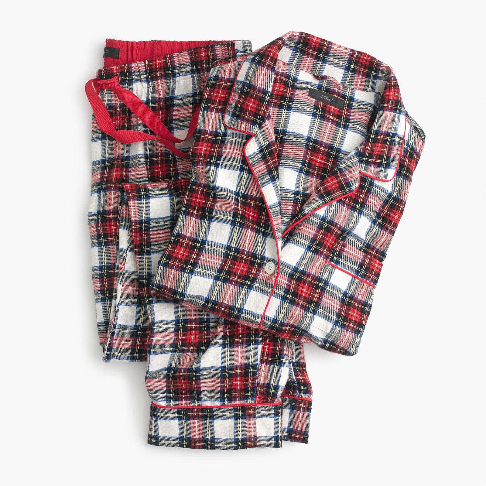 NWT J CREW KVINNOR Flannell pyjamas Sett i Tkonstan Plaid Röda flottans storlek liten