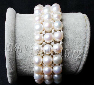3 rows 9-10mm white South Sea pearl Elasticity bracelet 7 inch