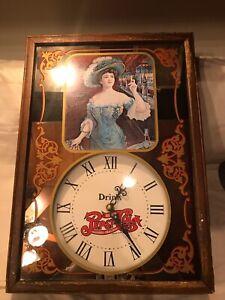 1973 Vintage Pepsi:Cola Quartz Wooden Bar Mirror Wall Clock - Gibson Girl