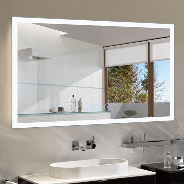 Dimmable Led Mirror Horizontal Light Bathroom Vanity Wall With Bluetooth Antifog