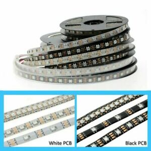 1-2-3-5m-Full-Color-WS2812B-LED-Strip-DC5V-RGB-Pixel-control-Black-White-PCB