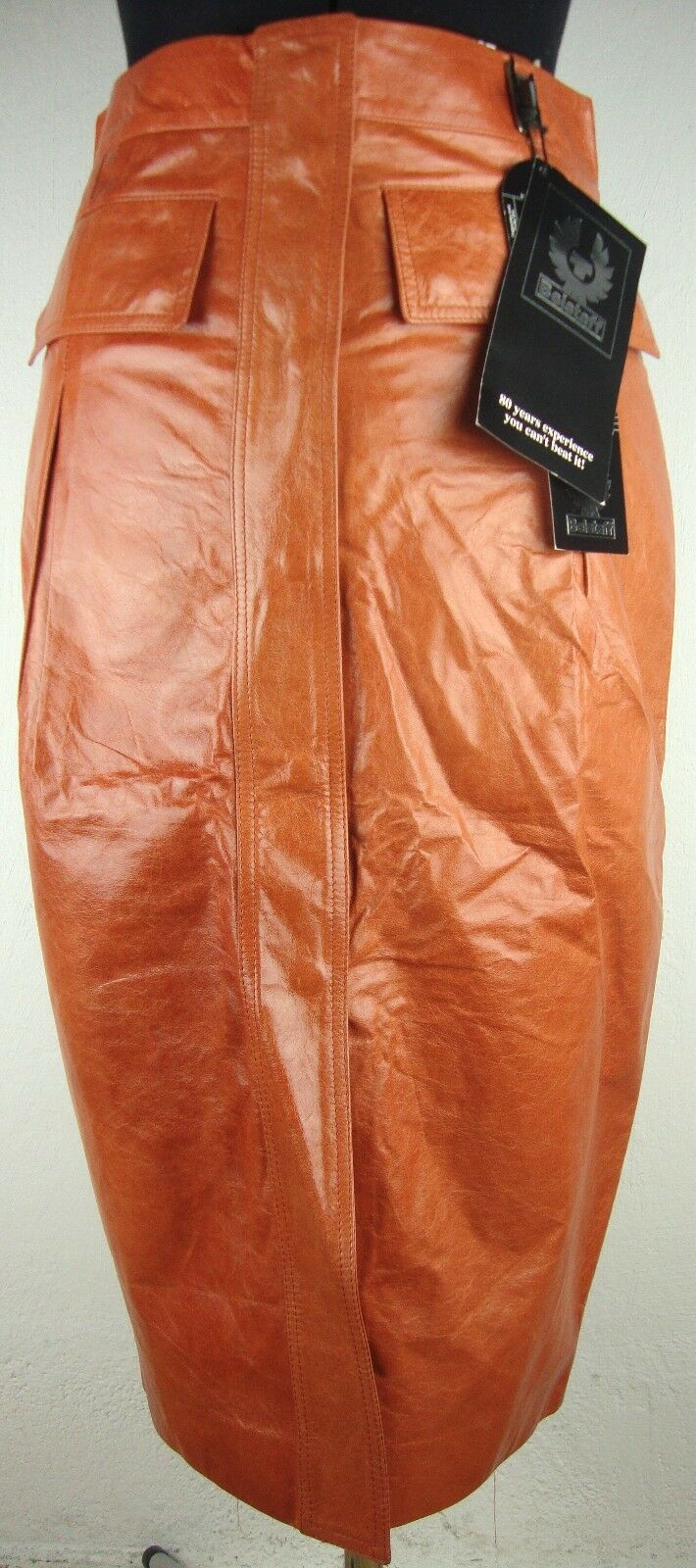 BELSTAFF Archel kjol Lady läder Ladies läder Skift orange Storlek 36 Ny med etiketter