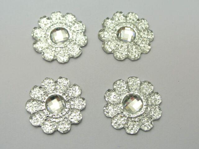50 Clear Acrylic Flatback Dotted Sunflower Rhinestone Gems 22mm No Hole