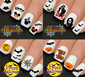 Halloween-Nail-Nails-Art-Water-Transfer-Decal-Wraps-Stickers-Boo-Scream-Bats