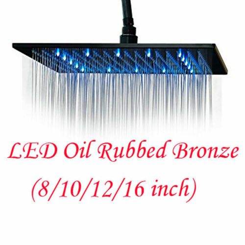 "8/""10/""12/""16/""Oil Rubbed Bronze LED Shower Head Square High Pressure Overhead Spray"