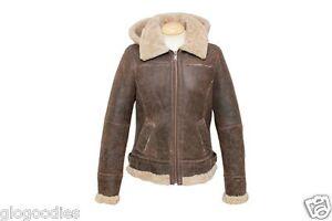 Ladies Jessie Hooded Leather Sheepskin Aviator Jacket - Chocolate ...