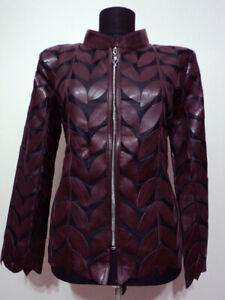 Burgundy-Woman-Leather-Coat-Women-Jacket-Zipper-Short-Collar-All-Size-Light-D4