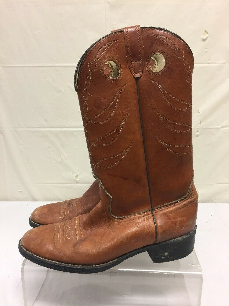 Vintage Brown Leather Cowboy Boots Mens Sz 10 D
