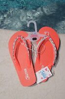 Justice Girls Flip Flops Size Xxs 12 Coral