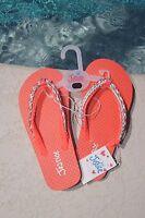 Justice Girls Flip Flops Size Xxs 12 Coral