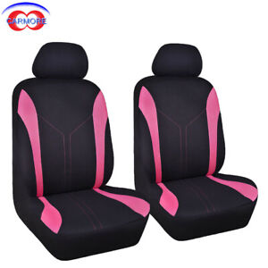 6-PCS-2-Front-Universal-Car-Seat-Covers-Pink-Mesh-Polyester-Breathable