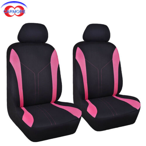 Mesh Polyester Breathable 6 PCS 2 Front Universal Car Seat Covers Pink