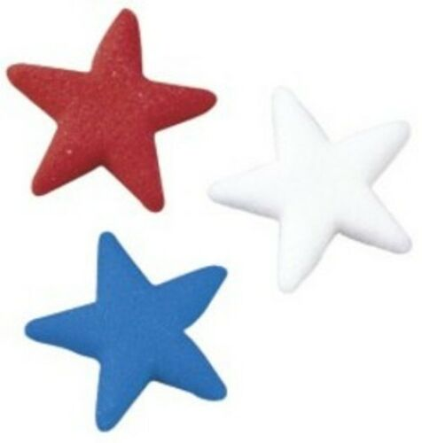 Blue Sugar Edible Decorations 9713 12 Count Assorted Stars Red White