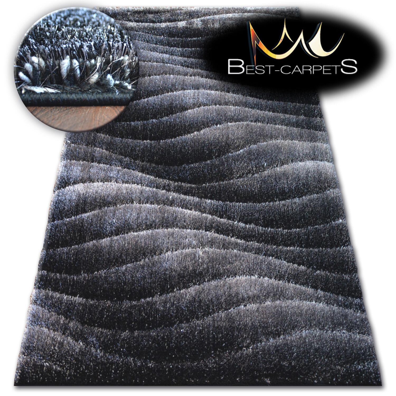 Morbidi e soffici Tappeti Shaggy  vano 3D  Alta Qualità Lucido Setosa TAPPETI