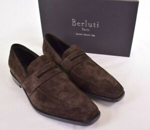 Berluti NWB Eclair Chocolate Brown Suede Loafers 7.5 8.5 D US $2,070