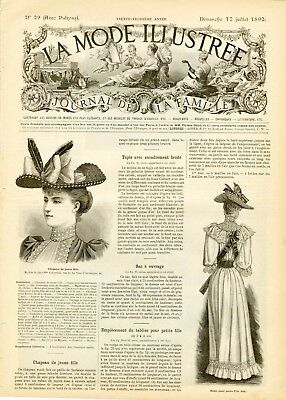 French MODE ILLUSTREE SEWING PATTERN July 17,1898 CORSET ROBE AVEC CORSAGE