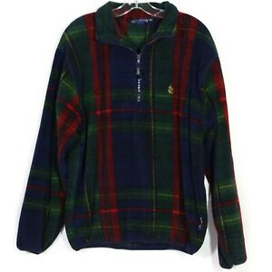 Vintage-Nautica-Mens-1-2-Zip-Fleece-Size-M-Tartan-Plaid-Pullover-Jacket-Nautech