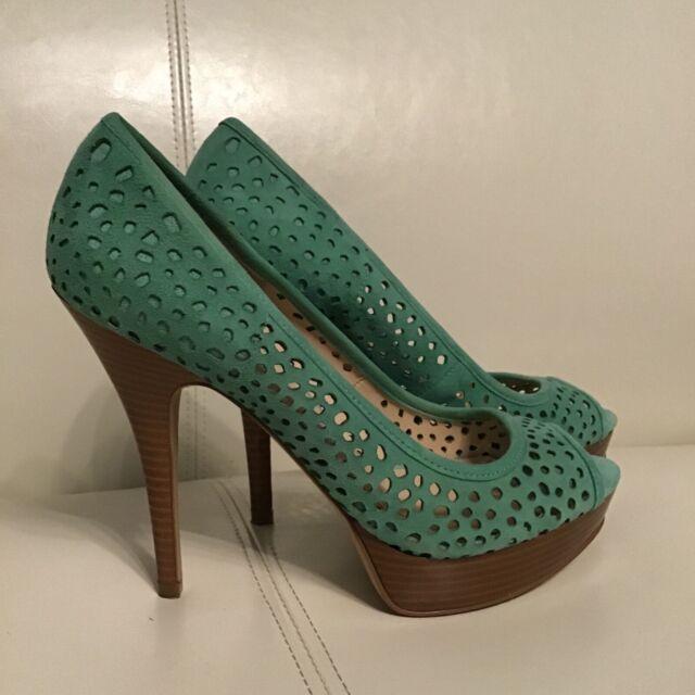 Enzo Angiolini Green Peep Toe Platform Pumps Heels Size 7.5 leather cutout