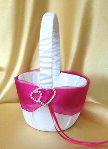Whitelight ivoryfuchsiahot pink diamante heart flower girl basket image is loading white light ivory amp fuchsia hot pink diamante mightylinksfo