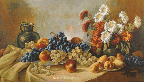"""40/"""" WALL GRAPE ART TAPESTRY Still Life with Flowers EUROPEAN DINING DECOR"""