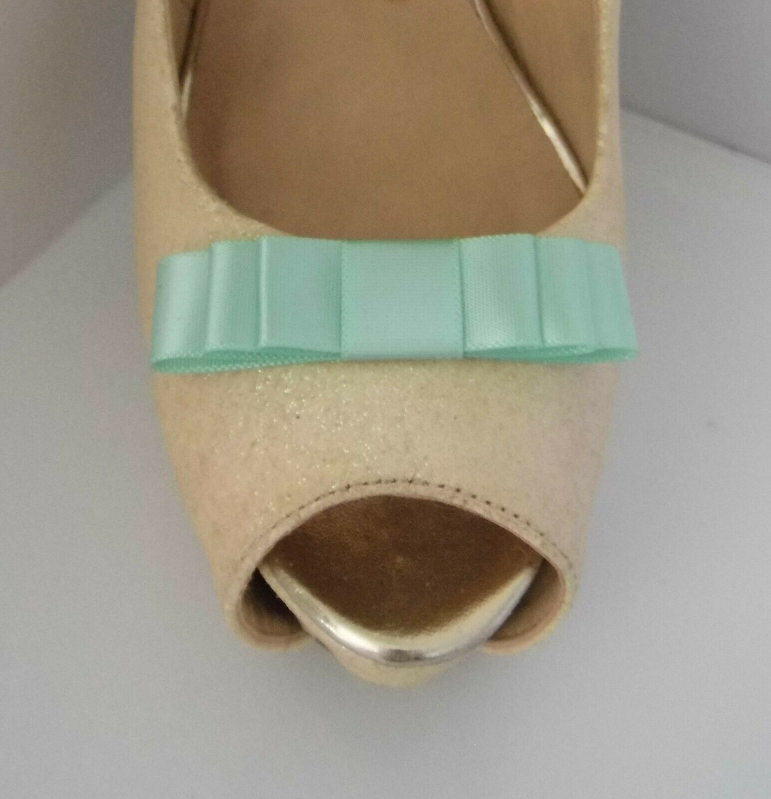 2 Small Apple Green Triple Bow Shoe Clips - other colours on request