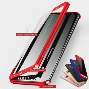 For-Samsung-Galaxy-A3-A5-A6-A8-Plus-A7-A9-360-Full-Cover-Case-Tempered-Glass