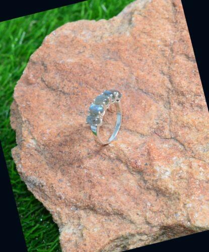 Labradorita hecha a mano joyería de plata esterlina 925 Anillo de piedra de cinco