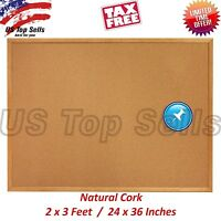 Office Board Cork Bulletin 36x24 Natural Pinboard Reminder Business Note 2'x3'