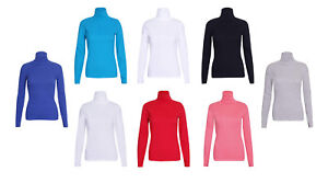 WOMENS-LADIES-RIBBED-POLO-NECK-TOP-JUMPER-TURTLE-ROLL-NECK-FULL-SLEEVE-PLAIN-TOP