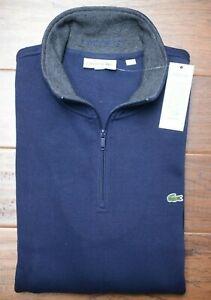 Lacoste SH1462 Men's 1/4 Zip Mock Neck Navy Blue 100% Cotton Sweat Sweater 4XL 9