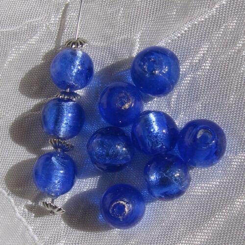 10 perles rondes 10mm verre bleu roi royal lampwork feuille d'argent *L292