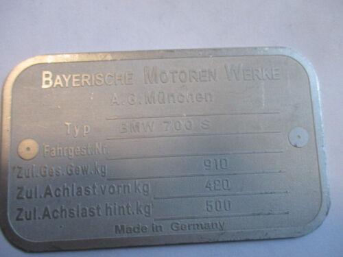 für BMW 700S 700 S Typenschild schild Id-plate S47