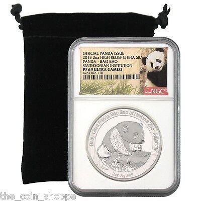 Smithsonian China Panda - Bao Bao - NGC PF69 UC - 2015 2 oz Proof Silver Medal