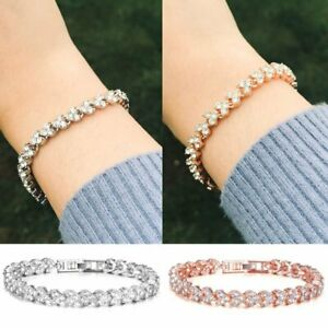 Fashion-Women-Chain-Zircon-Crystal-Bangle-Rhinestone-Bracelets-Wedding-Jewelry
