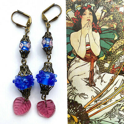 Vintage Lampwork Czech Glass Beaded Earrings Only One Pair of Each Available!