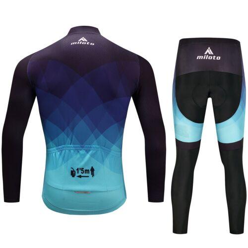 Blue Mens Cycling Kit Reflective Long Sleeve Jersey Coolmax Pants Bib Tights Set