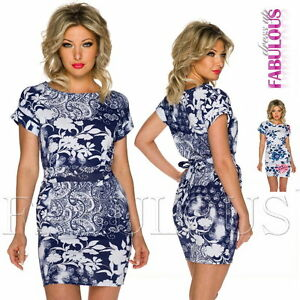 New-Sexy-European-Floral-Flower-Print-Mini-Dress-Party-Summer-Wear-Size-8-10-S-M