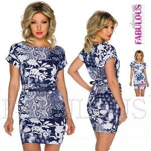 New-European-Floral-Flower-Print-Mini-Dress-Party-Summer-Wear-Size-8-10-S-M