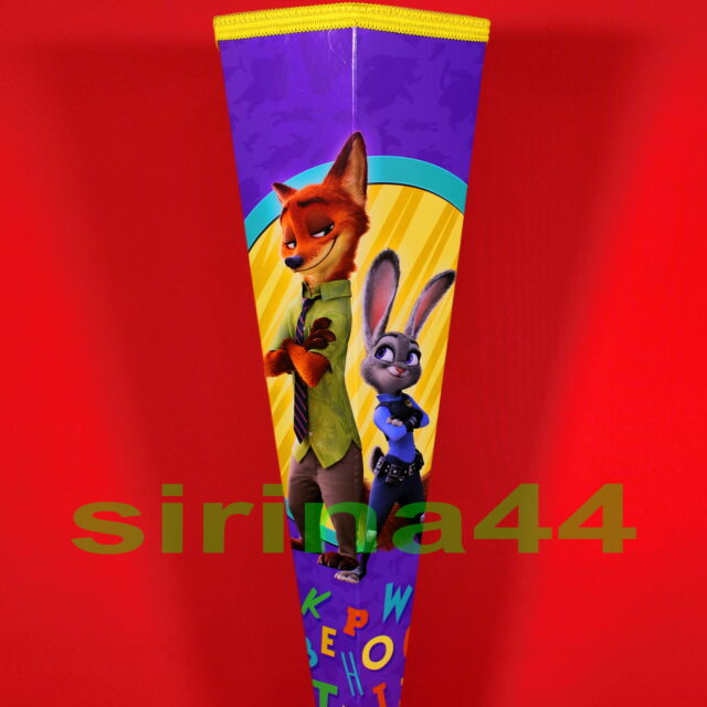 "Schultüte/Zuckertüte ""Zoomania"" Judy Hopps, lila / gelb, stabil, 85cm mit Borte"