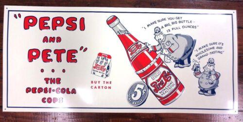 """NOS PEPSI TIN SIGN /""""Pepsi And Pete"""" Metal Decor Sign"""