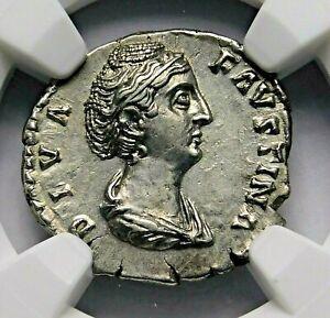 NGC-AU-Faustina-Sr-Rare-Denarius-Mother-of-Marcus-Aurelius-Roman-Silver-Coin