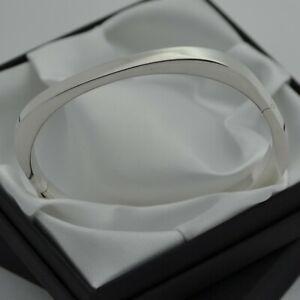Vintage-925-Sterling-Silver-Plain-Squared-Design-Bangle-Bracelet