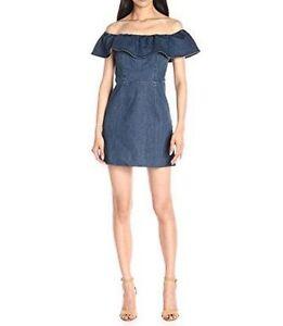 Image Is Loading Kendall Kylie Ruffle Off Shoulder Denim Dress Dark