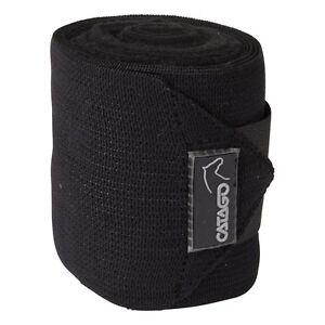 CATAGO-elastische-Fleecebandagen-4-Stueck-schwarz-Bandagen-fuer-Pferde-Beine
