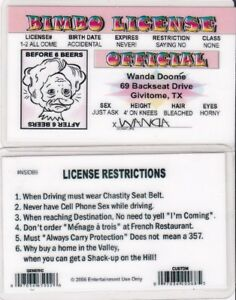 Details about BIMBO LICENSE - Texas TX id card Drivers License - Before /  After 6 Beers