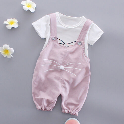 2pc baby clothes summer short sleeve Tee+bib pants kids baby girls outfits cat