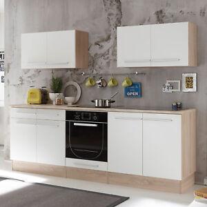 Details zu Küchenzeile Küchenblock Einbauküche Welcome X Küche Sonoma Eiche  weiß matt